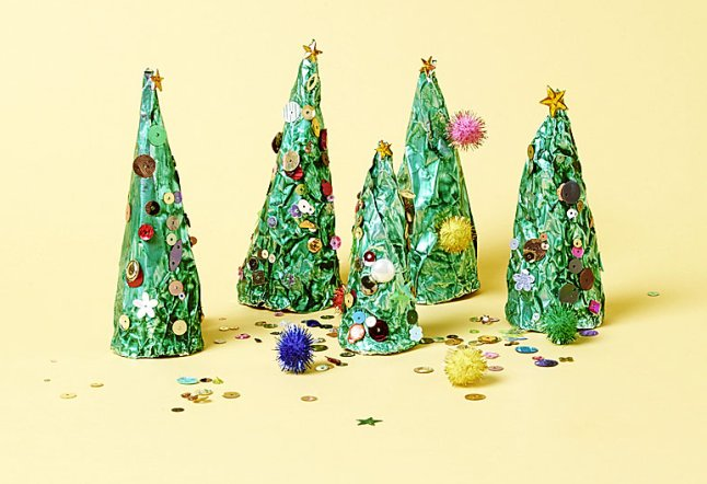 Christmas craft tin foil trees for children and toddlers