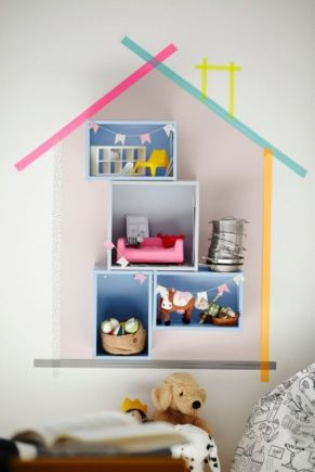 shelving doll's house with Ikea doll's furniture
