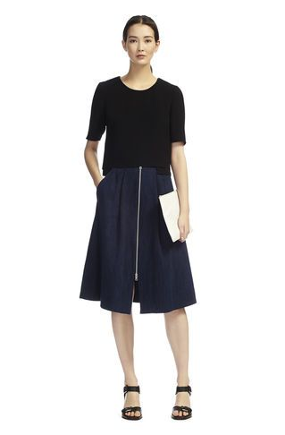 whistles zip front denim skirt